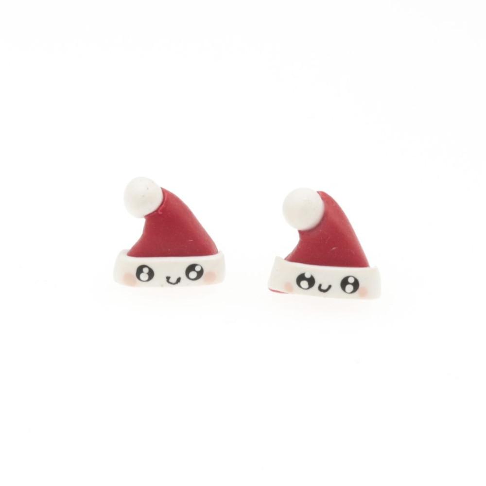 Czapki Mikołaja kawaii kolczyki świąteczne sztyfty