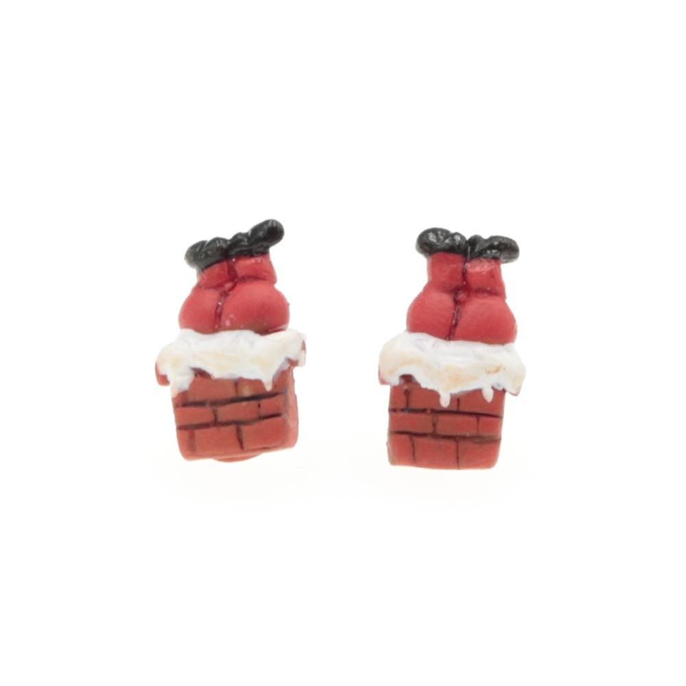 Kolczyki Mikołaj w kominie świąteczne sztyfty