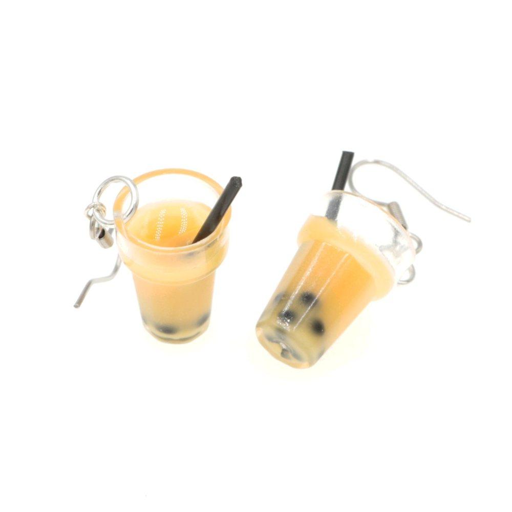 Bubble tea kolczyki bigle stal