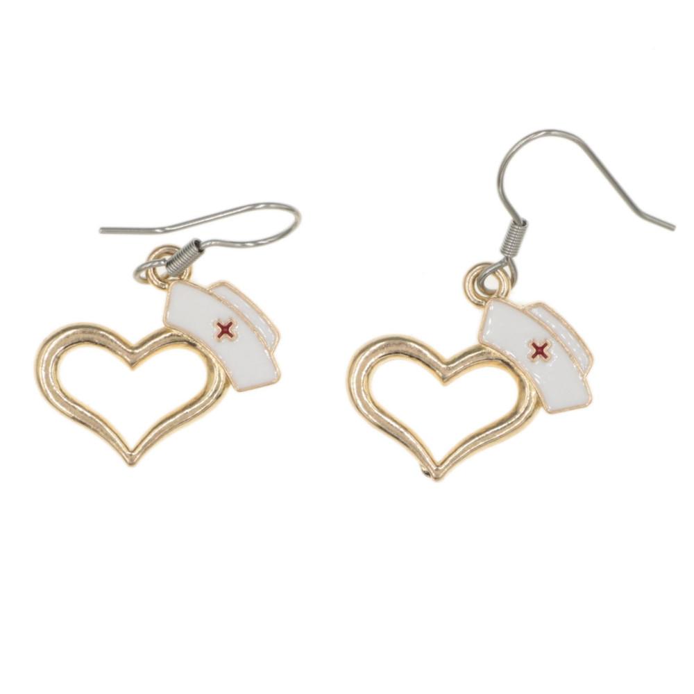 Kolczyki czepek serce - kolczyki dla pielęgniarki