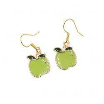 Jabłuszka kolczyki jabłka zielone jabłko bigle stal