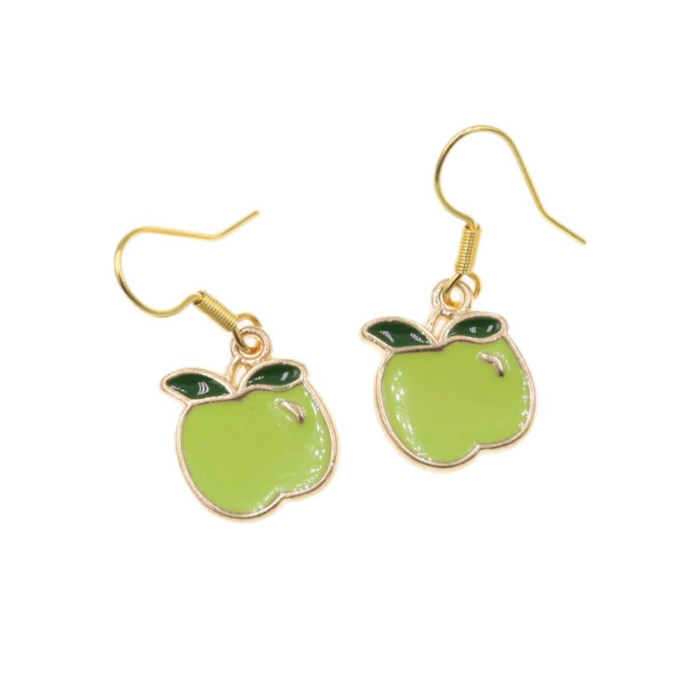 Jabłuszka kolczyki jabłka zielone jabłuszko bigle stal