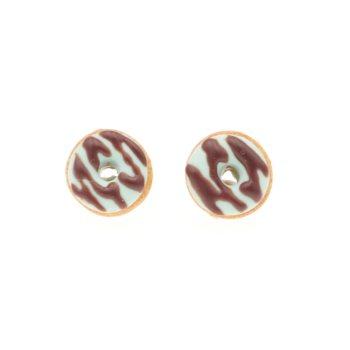 Kolczyki pączki donaty małe do 1cm, oponki sztyfty donut pączek Stal Chirurgiczna