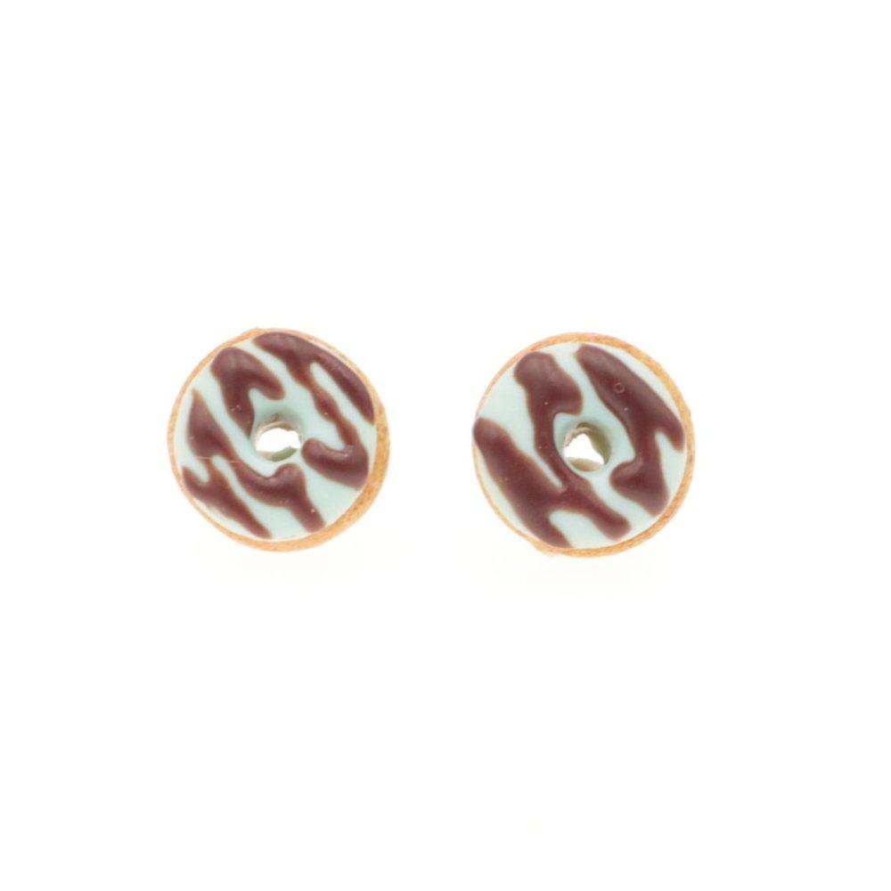 Kolczyki pączki donaty małe do1cm, oponki sztyfty donut pączek Stal Chirurgiczna