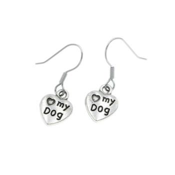 Love my dog, kolczyki dla psiarzy wiszące