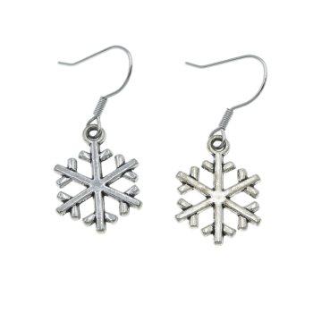 Śnieżki, płatki śniegu - kolczyki wiszące kolor srebrny śniezynki