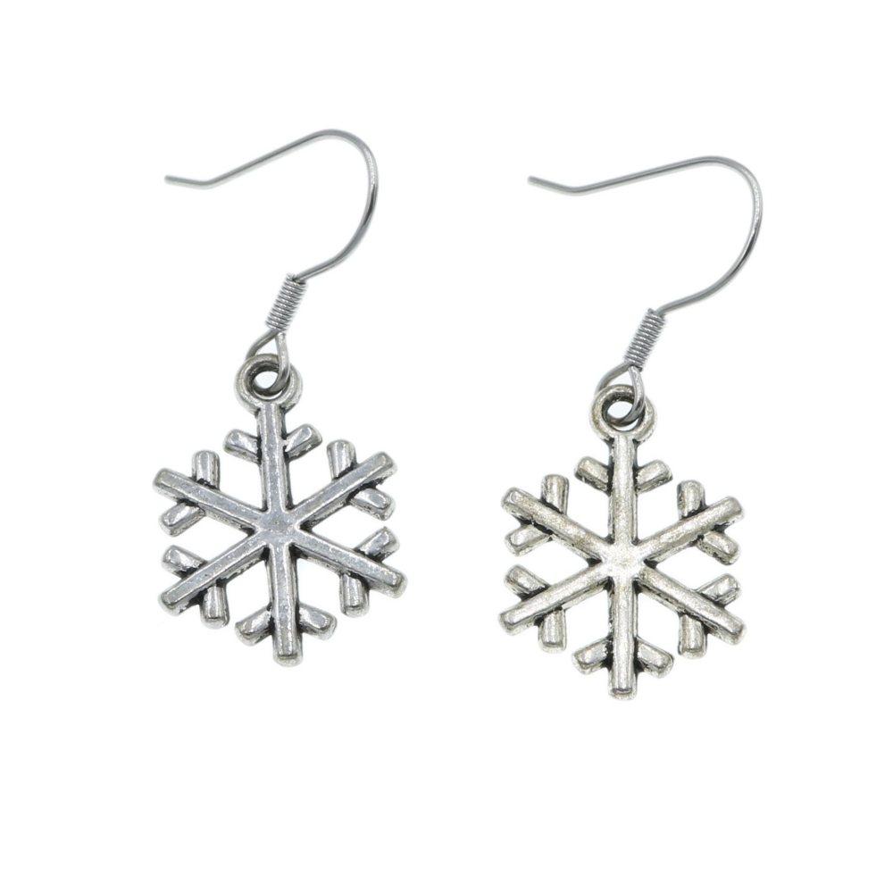 Śnieżki, płatki śniegu - kolczyki wiszące kolor srebrny