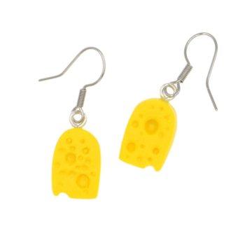 Ser żółty kawałek sera kolczyki wiszące serek serki