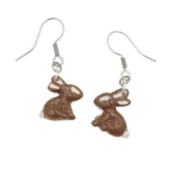 Zając czekoladowy 15mm, kolczyki królik Wielkanoc Wiszące stal