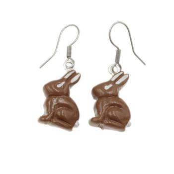 Zając czekoladowy 18mm- kolczyki królik Wielkanoc Wiszące stal