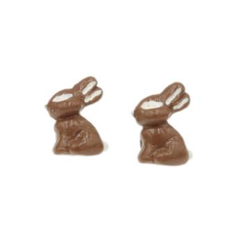 Zając czekoladowy 15mm - kolczyki Wielkanocne sztyfty stal króliki