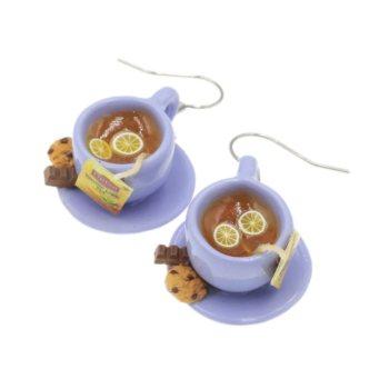 Herbata kolczyki filiżanki z herbatą i ciastkiem Stal Chirurgiczna