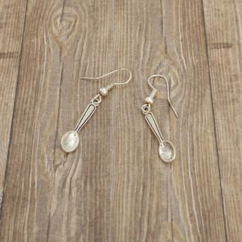 Łyżka, łyżeczka - kolczyki wiszące kolor srebrny