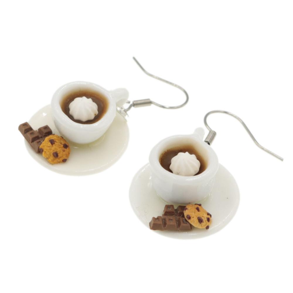 Kawa kolczyki filiżanki z kawą i ciastkiem Stal Chirurgiczna