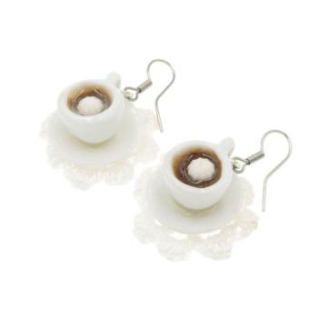 Kawa kolczyki filiżanki z kawą Stal Chirurgiczna filiżanka + spodek