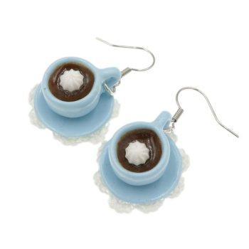 Kawa kolczyki filiżanki z kawą Stal Chirurgiczna spodek + serwetka