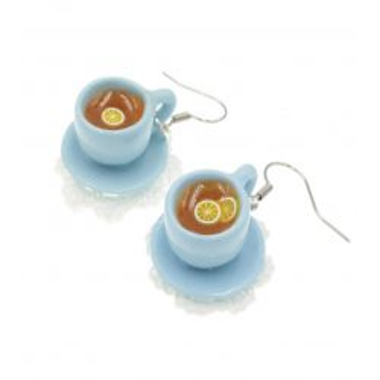 Herbata kolczyki filiżanki z herbatą Stal Chirurgiczna serwetka + spodek