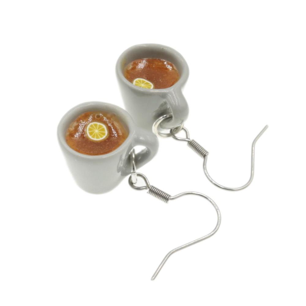 Kubek herbaty kolczyki wiszące herbatka