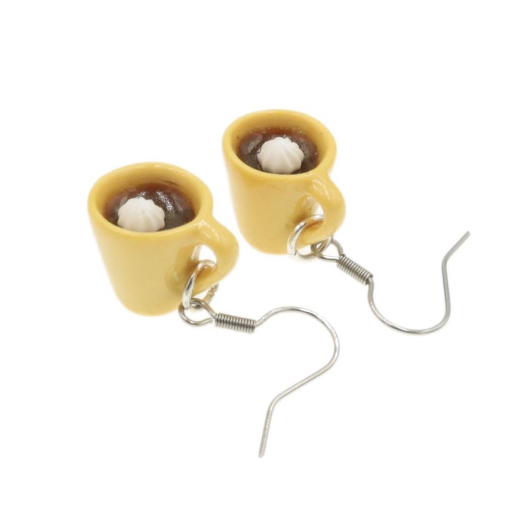 Kubek kawy kolczyki wiszące kawa