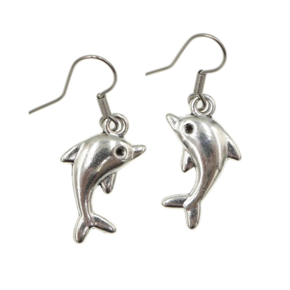 Delfin - kolczyki wiszące