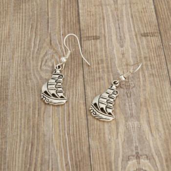 Żeglówka - kolczyki wiszące kolor srebrny