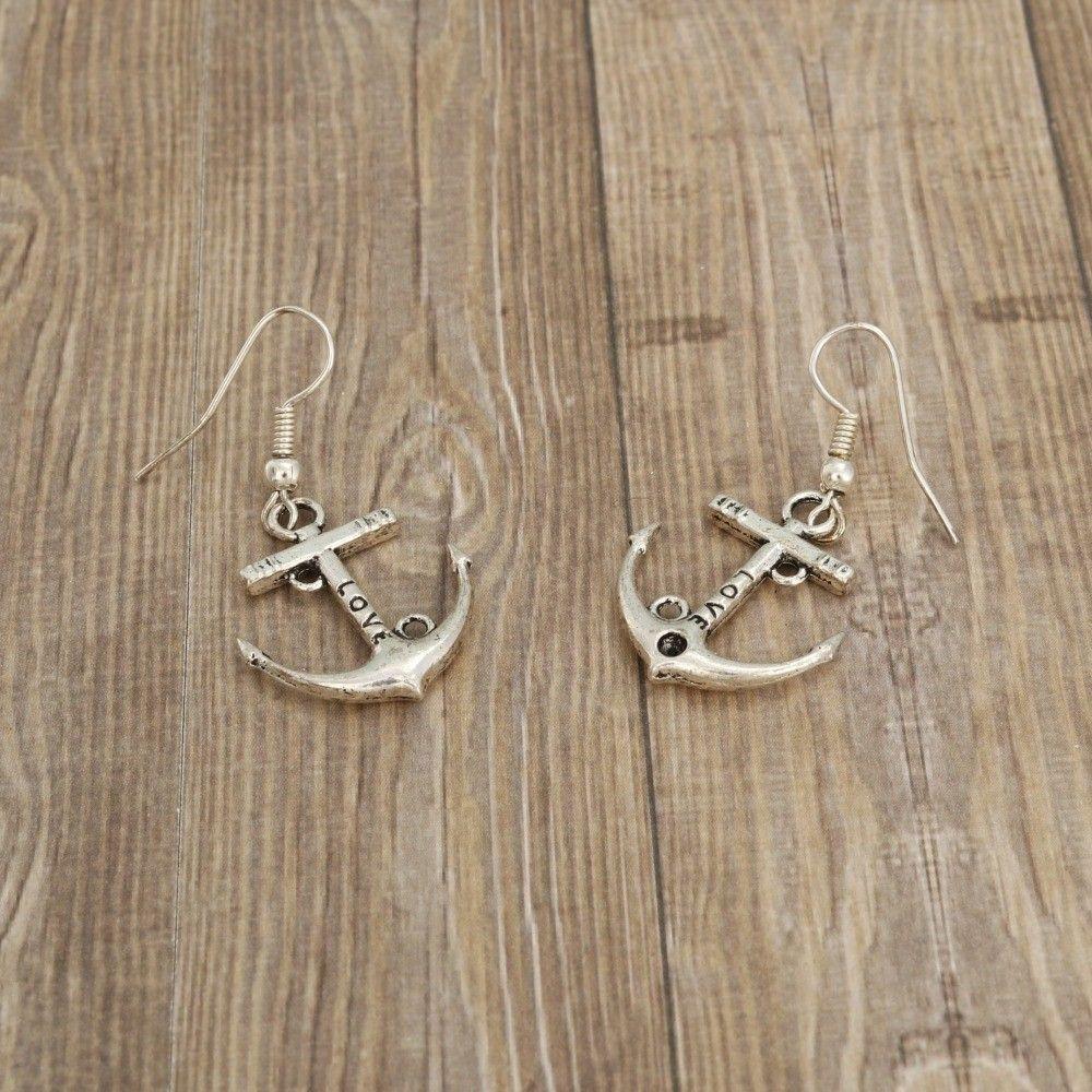 Kotwica - kolczyki wiszące kolor srebrny