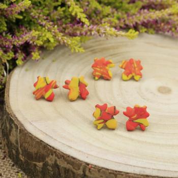 Kolczyki liście sztyfty listki klonu - rękodzieło Krafciarka