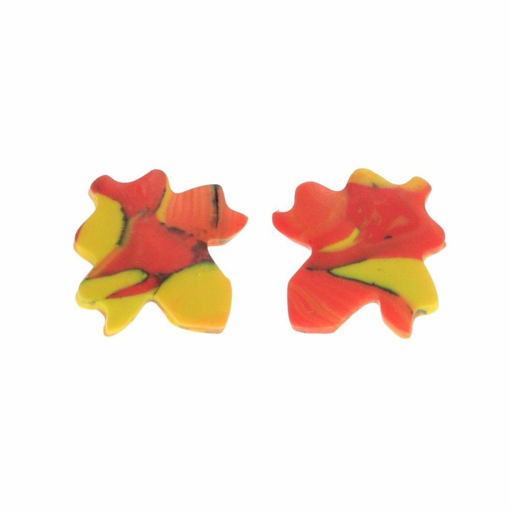 Kolczyki liście klonu jesienne - wtykane