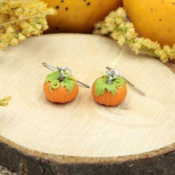 Kolczyki Dynie małe - kolczyki wiszące na halloween dynia