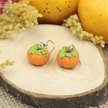 Kolczyki Dynie duże - kolczyki wiszące na halloween dynia