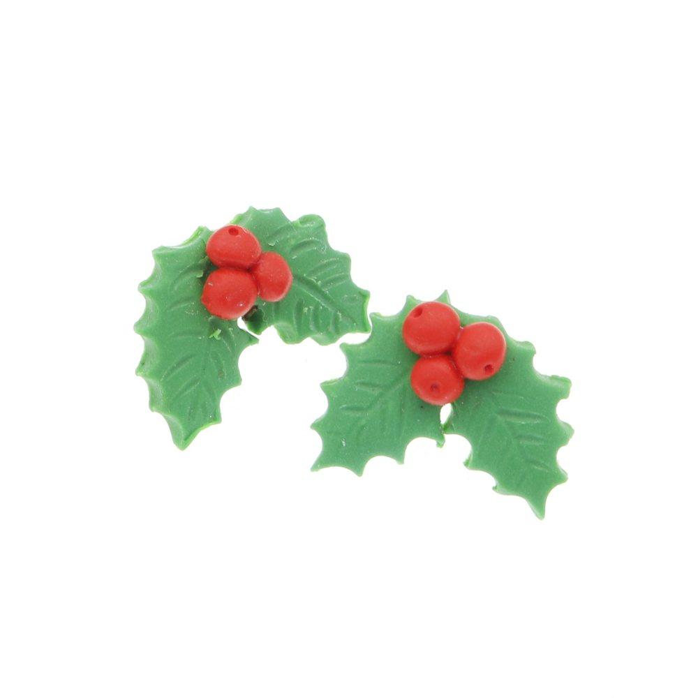 Ostrokrzew kolczyki świąteczne sztyfty