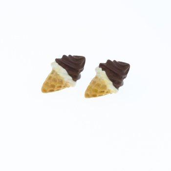 Lody kolczyki sztyfty 1,8x1,6 czekoladowo śmietankowy