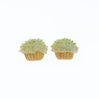 Muffinki kolczyki babeczki 1,4x1,8cm cytrynowe sztyfty