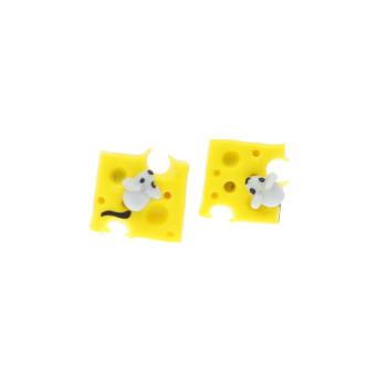 Ser żółty serek serki 9mm z myszką kolczyki sztyfty