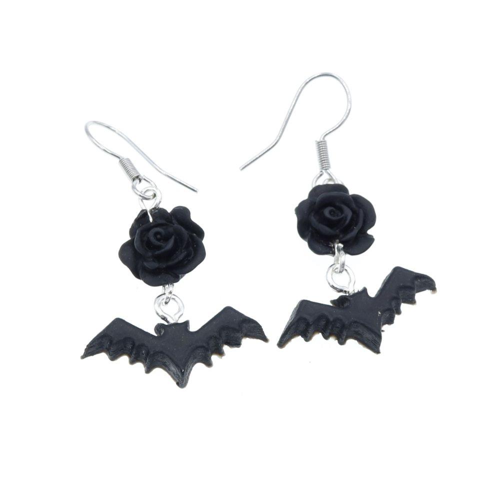Kolczyki Nietoperz 23mm x 22mm Halloween Gacek Batman - wiszące