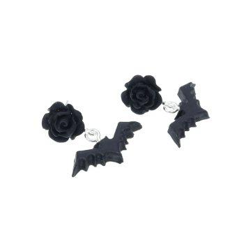 Kolczyki Nietoperz 23mm x 22mm Halloween Gacek Batman - wtykane
