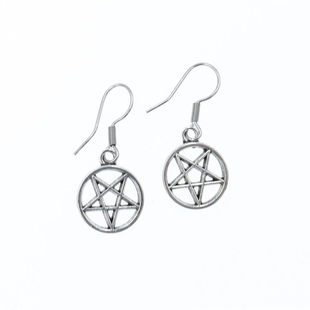 Kolczyki Pentagram metalowe wiszące 13mm - bigle stal