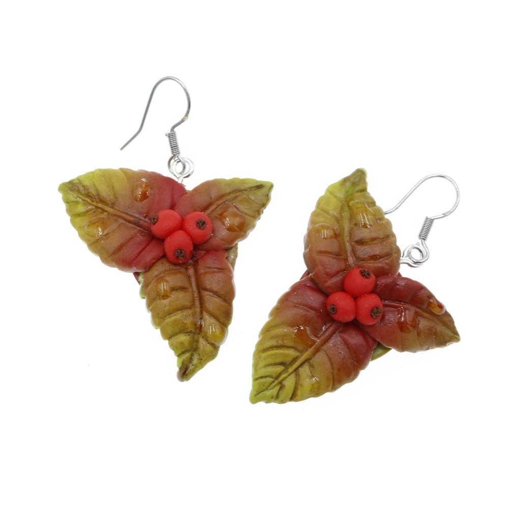 Kolczyki liście jarzębina jesienne - wiszące