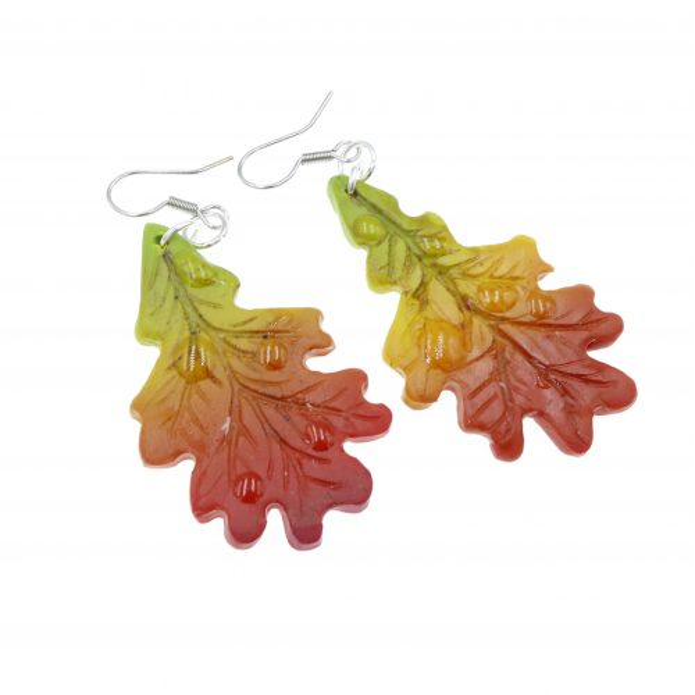 Kolczyki liście dąb jesienne liść dębu - wiszące