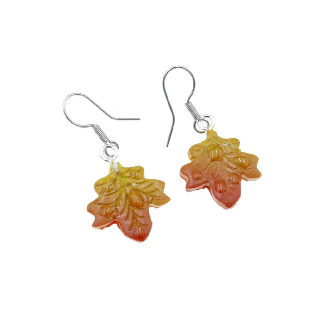 Kolczyki liście klonu jesienne - wiszące