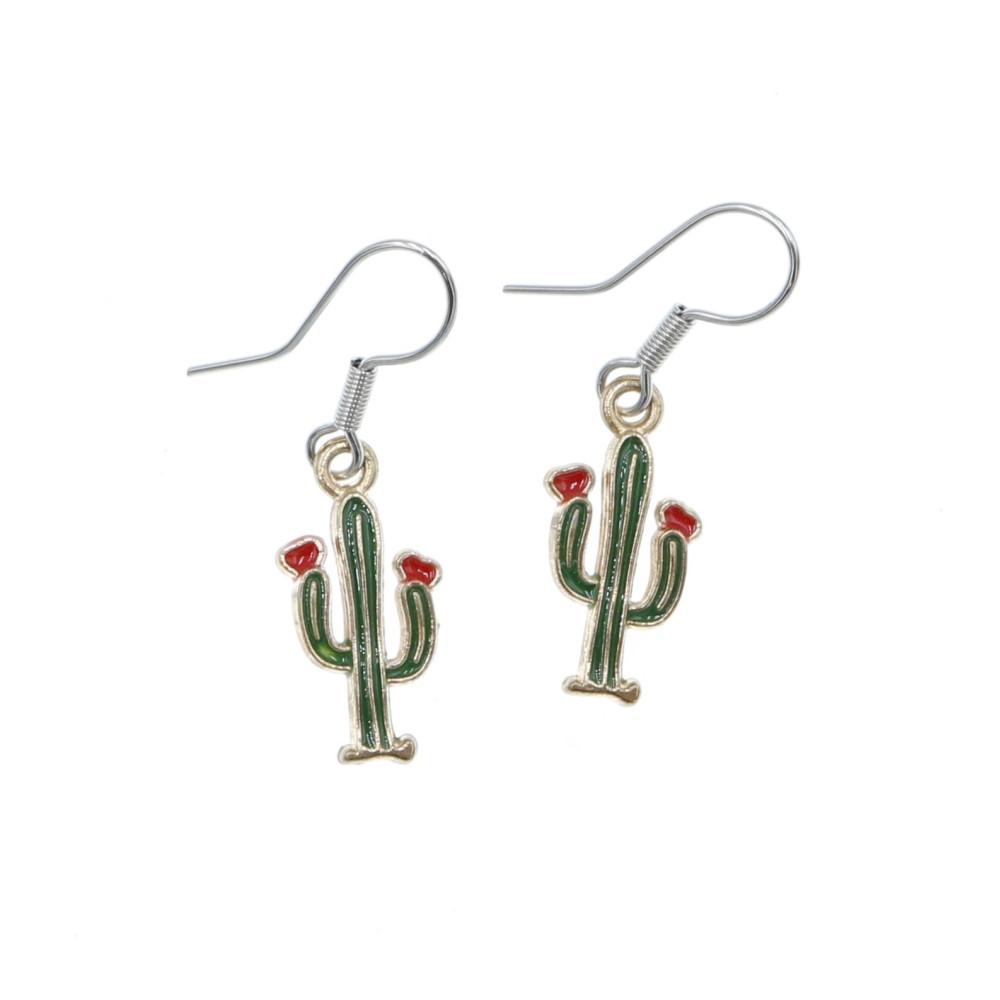 Kaktus 15mm kolczyki wiszące kaktusy