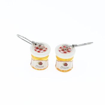 Dżem truskawkowy 12mm kolczyki wiszące truskawki
