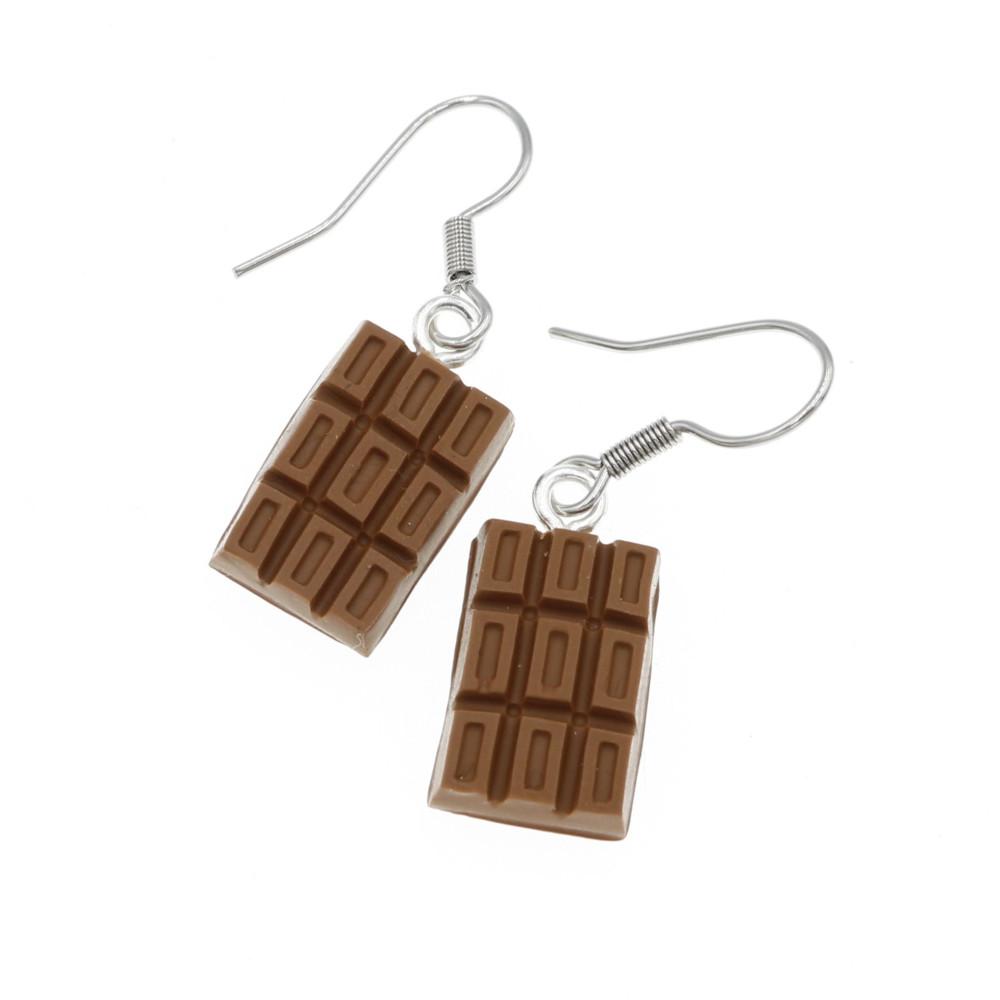 Czekolada 15mm tabliczka czekolady, czekoladka kolczyki wiszące