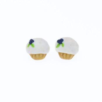 Muffinki kolczyki babeczki 1,2x1,2cm z jagodami borówkami