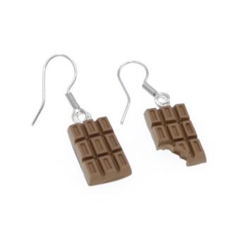 Czekoladowe kolczyki wiszące 1,5cm tabliczka czekolady, czekoladki kolczyki wiszące