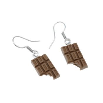 Czekoladowe kolczyki wiszące 1,5cm tabliczka czekolady, czekoladki kolczyki czekolada wiszące