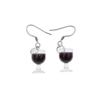 Kolczyki kieliszki z winem kolczyki wino wiszące na imprezę