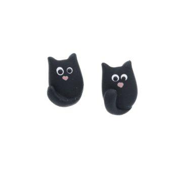 Kolczyki czarny kot 12mm sztyfty