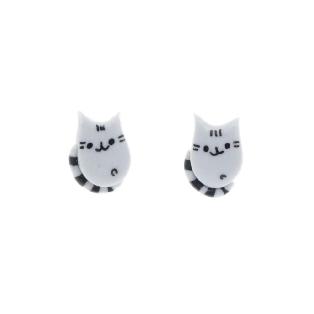 Pusheen kolczyki 1cm kotki koty kot malutkie