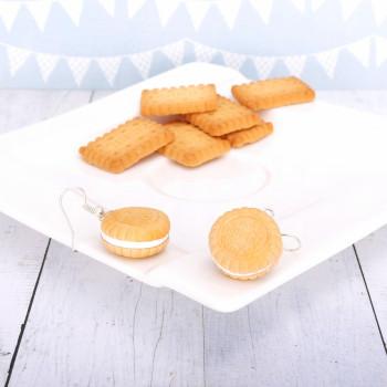 Markizy Ciasteczka Biscuit białe - kolczyki wiszące